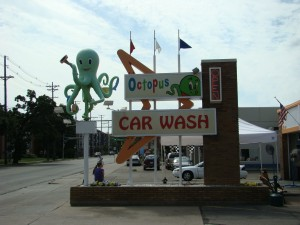 Octopus Car Wash boomerang sign